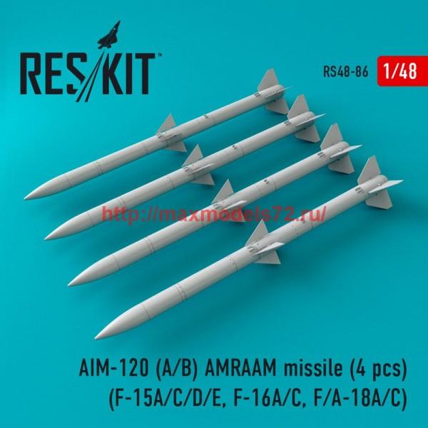 RS48-0086   AIM-120 (A/B) AMRAAM missile (4 pcs) (F-15A/C/D/E, F-16A/C, F/A-18A/C) (thumb44764)
