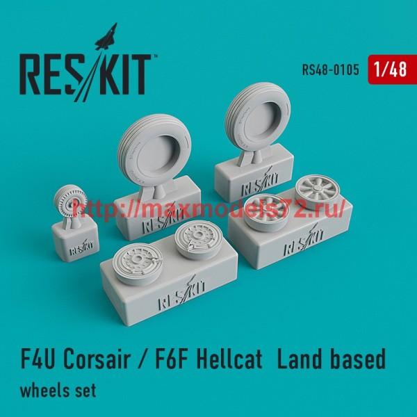RS48-0105   F4U Corsair / F6F Hellcat  Land based wheels set (thumb44804)