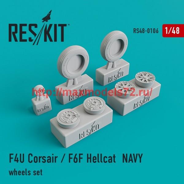 RS48-0106   F4U Corsair / F6F Hellcat NAVY wheels set (thumb44806)
