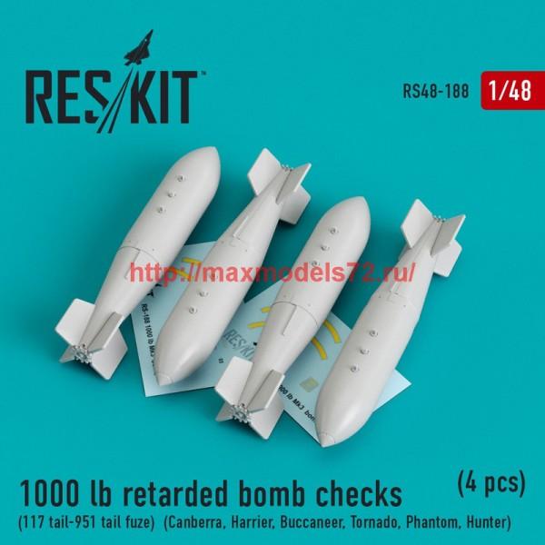 RS48-0188   1000 lb retarded bomb checks (117 tail-951 tail fuze)  (Canberra, Harrier, Buccaneer, Tornado, Phantom, Hunter) (4 pcs) (thumb44955)