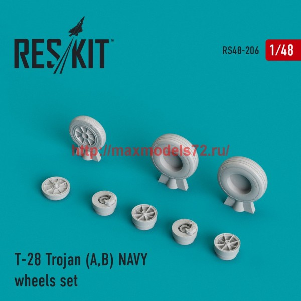 RS48-0206   T-28 Trojan (A,B) NAVY wheels set (thumb44989)
