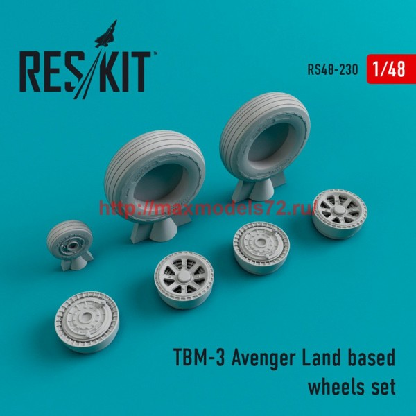RS48-0230   TBM-3 Avenger Land based wheels set (thumb45031)