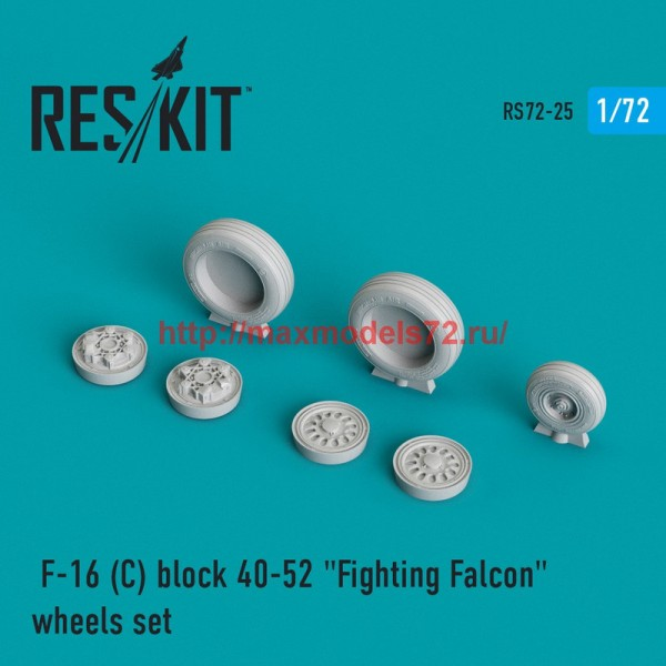 "RS72-0025   General Dynamics F-16 (C) block 40-52 ""Fighting Falcon"" wheels set (thumb43987)"