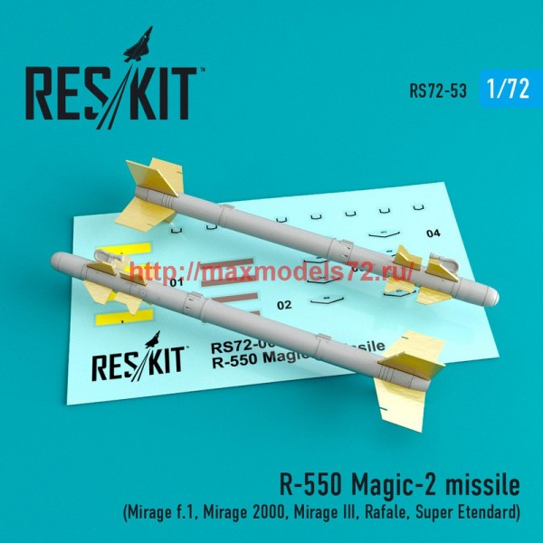 RS72-0053   R-550 Magic-2 missile (4 pcs) (Mirage f.1, Mirage 2000, Mirage III, Rafale, Super Etendard) (thumb44043)