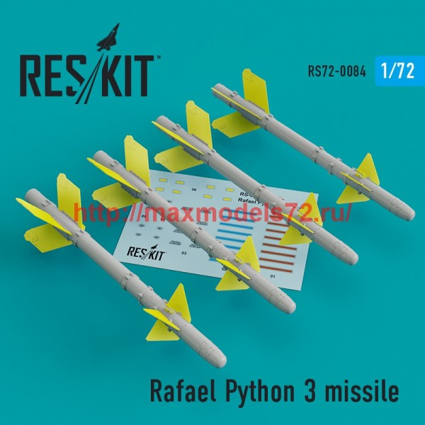 RS72-0084   Rafael Python 3 missile (4 pcs)  (IAI Kfir, F-15C/I, F-16I, JF-17, MiG-21, Mirage F.1) (thumb44103)