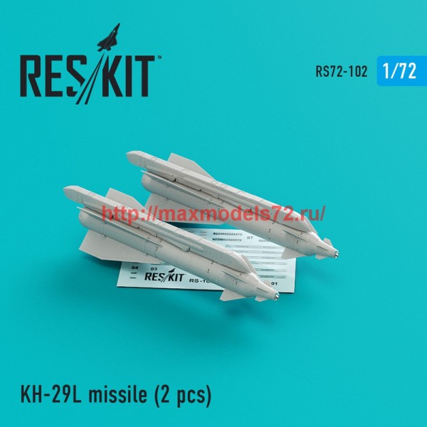 "RS72-0102   Kh-29L  (AS-14A ""Kedge)  missile (2 pcs)  Su-17, Su-25,Su-24, Su-34, Su-30, Su-39, Mig-27, Yak-130, Mirage F.1 (thumb44142)"