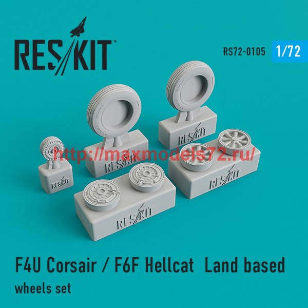 RS72-0105   F4U Corsair / F6F Hellcat  Land based wheels set (thumb44148)