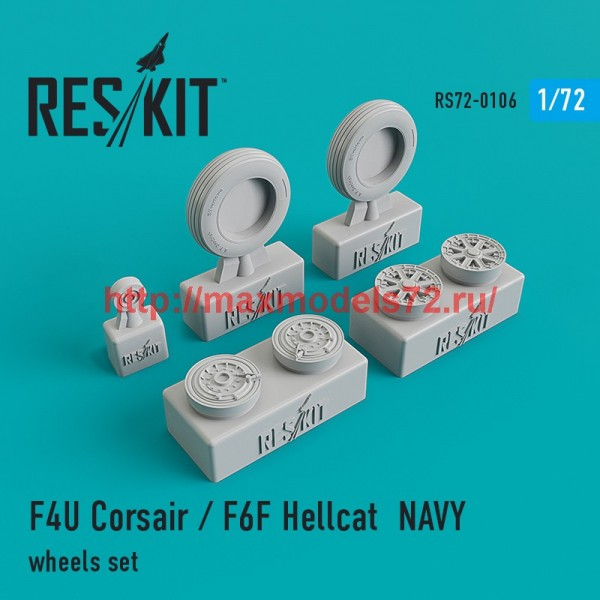 RS72-0106   F4U Corsair / F6F Hellcat NAVY wheels set (thumb44150)