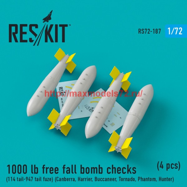 RS72-0187   1000 lb free fall bomb checks (114 tail-947 tail fuze) (Canberra, Harrier, Buccaneer, Tornado, Phantom, Hunter) (4 pcs) (thumb44302)