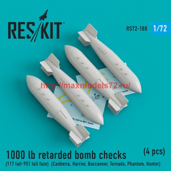 RS72-0188   1000 lb retarded bomb checks (117 tail-951 tail fuze)  (Canberra, Harrier, Buccaneer, Tornado, Phantom, Hunter) (4 pcs) (thumb44304)