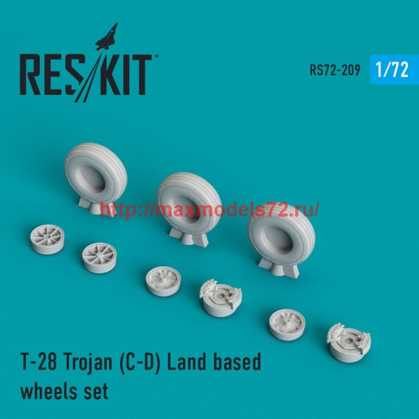 RS72-0209   T-28 Trojan (C-D) Land based wheels set (thumb44346)
