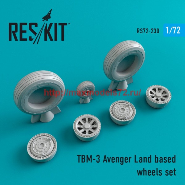 RS72-0230   TBM-3 Avenger Land based wheels set (thumb44382)