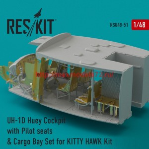 RSU48-0051   UH-1D Huey Cockpit with Pilot seats & Cargo Bay Set for KITTY HAWK Kit (attach1 44511)