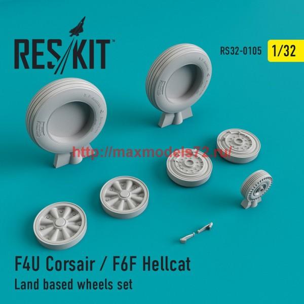 RS32-0105   F4U Corsair / F6F Hellcat Land based wheels set (thumb45131)