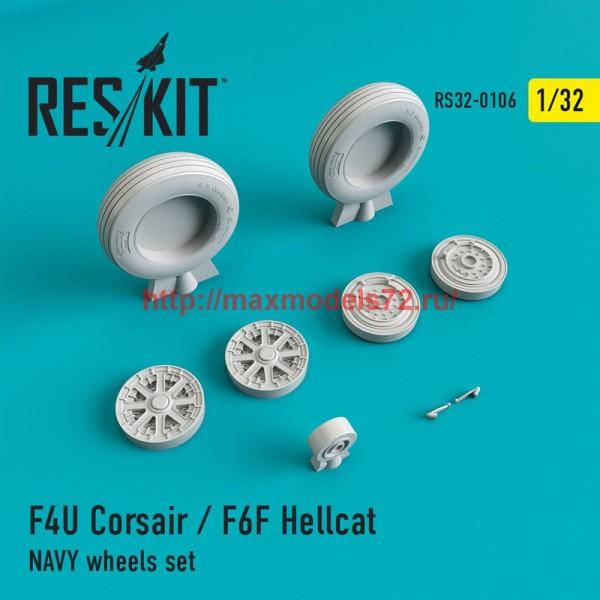 RS32-0106   F4U Corsair / F6F Hellcat NAVY wheels set (thumb45133)