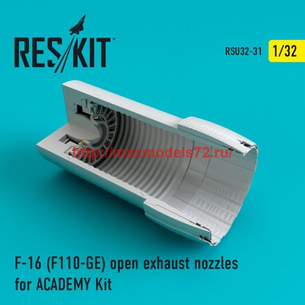 RSU32-031   F-16 (F110-GE) open exhaust nozzles for ACADEMY Kit (thumb47625)