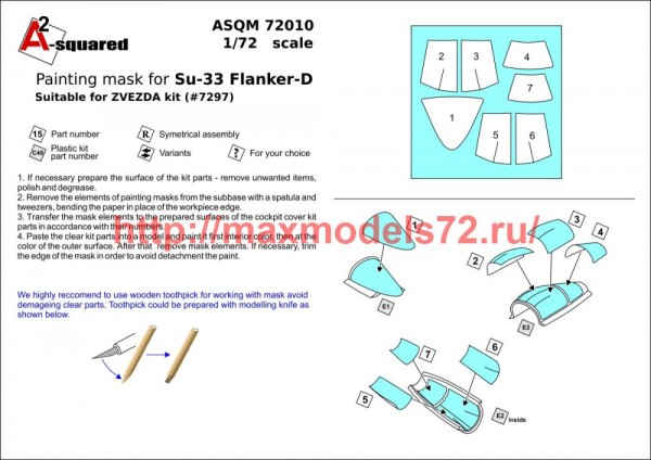 A-squaredM72010   Sukhoi Su-33 canopy paint mask (Zvezda) (thumb49909)