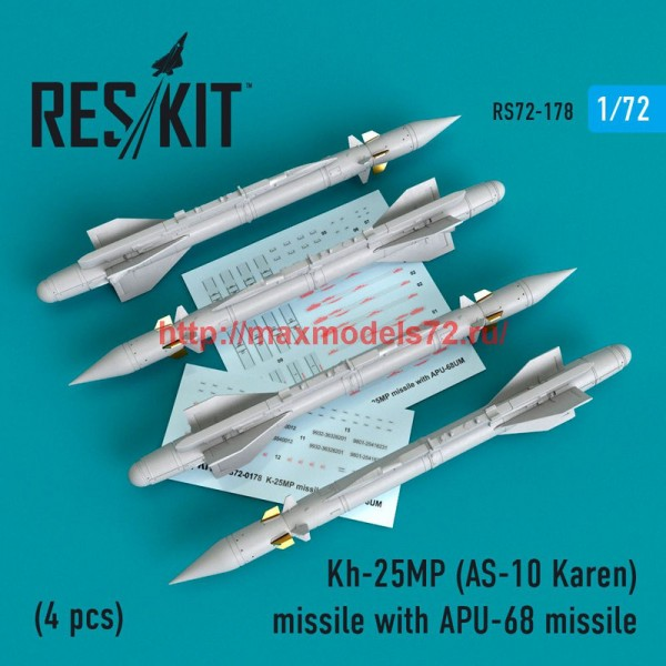RS72-0178   Kh-25MP(AS-10 Karen) missile  with APU-68  (4 pcs)  (MiG-23, MiG-27, Su-17, Su-24, Su-25) (thumb48621)