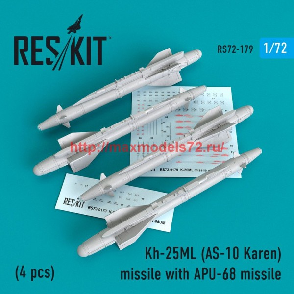 RS72-0179   Kh-25ML (AS-10 Karen) missile  with APU-68  (4 pcs)  (MiG-23, MiG-27, Su-17, Su-24, Su-25) (thumb48623)