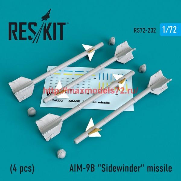 """RS72-0232   AIM-9B """"Sidewinder"""" missile (4 PCS) A-4, A-7, F-4D1, F-4, F-8, F-3H,  F-11, F-86,F-100,  F-104, F-105,  Mirage III, Harrier, (thumb48627)"""