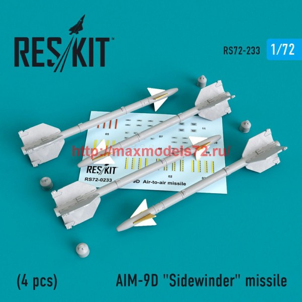 """RS72-0233   AIM-9D """"Sidewinder"""" missile (4 PCS) A-4, A-6, A-7, F-4, F-8, F-100, F-104, F-105,  Mirage III, (thumb48629)"""