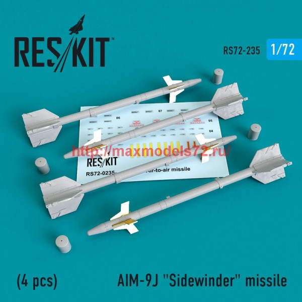 "RS72-0235   AIM-9J ""Sidewinder""  missile (4 PCS) F-4, F-5, F-16, F-15, F-14, Mirage F.1, Harrier, Mirage III, Hawk (thumb48633)"