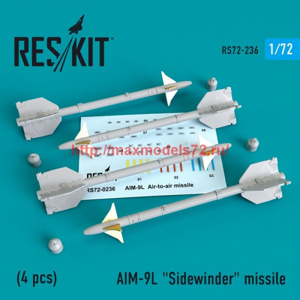 "RS72-0236   AIM-9L ""Sidewinder""  missile (4 PCS) F4, F-5, F-15, F-16, F-18, F-22, F-111, Harrier, Tornado, Eurofighter, Hawk, Gripen (thumb48635)"