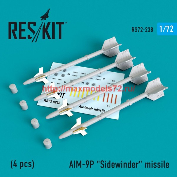 "RS72-0238   AIM-9P ""Sidewinder"" missile (4 PCS) F-4, F-5, F-16, F-15, F-14, Mirage F.1, Harrier, Mirage III, Hawk, Mirage 2000 (thumb48639)"