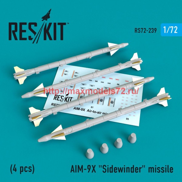 """RS72-0239   AIM-9X  """"Sidewinder""""  missile (4 PCS) (F-15, F-16, F-18, F-35) (thumb48641)"""