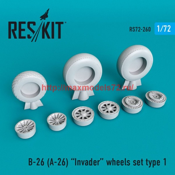 RS72-0260   B-26 (A-26)  Invader wheels set type 1 (thumb48661)