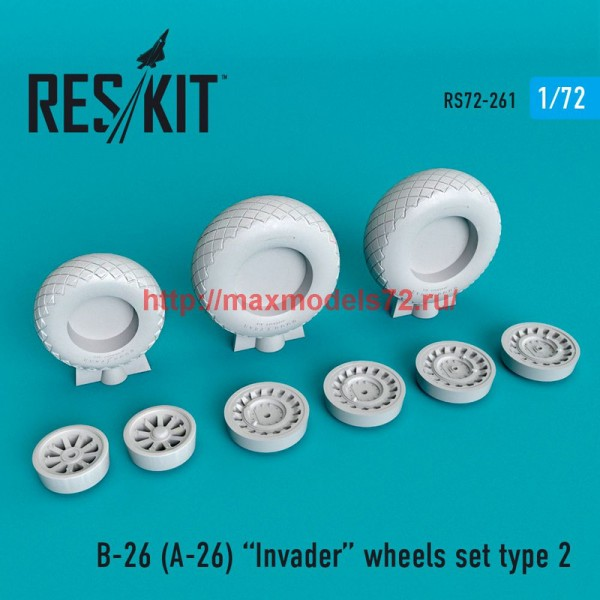 RS72-0261   B-26 (A-26)  Invader wheels set type 2 (thumb48663)