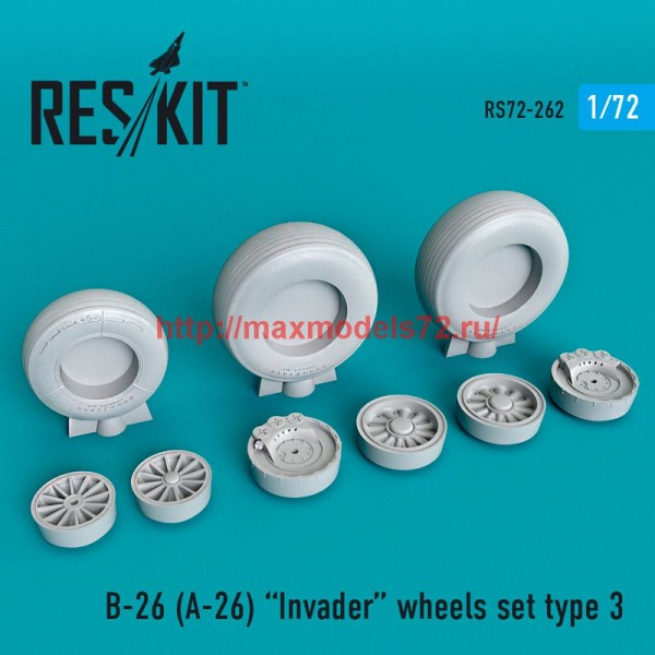 RS72-0262   B-26 (A-26)  Invader wheels set type 3 (thumb48665)