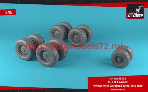 AR AW48333   1/48 B-1B Lancer wheels w/ weighted tires, late (thumb50721)