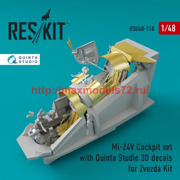 RSU48-0118   Mi-24 (V) Cockpit set with Quinta Studio 3D decals for Zvezda Kit (thumb50345)