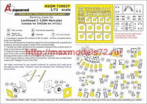 A-squaredM72002Y   Painting mask for Lockheed C-130 Hercules (attach1 50122)