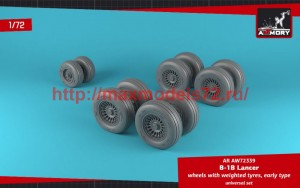 AR AW72339   1/72 B-1B Lancer wheels w/ weighted tires, early (attach2 50746)