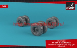 AR AW72343   1/72 CH-53 Sea Stallion wheels w/ weighted tires, early (attach2 50766)