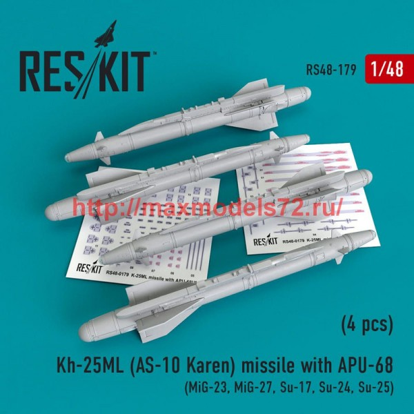 RS48-0179   Kh-25ML (AS-10 Karen) missile  with APU-68  (4 pcs)  (MiG-23, MiG-27, Su-17, Su-24, Su-25) (thumb50206)