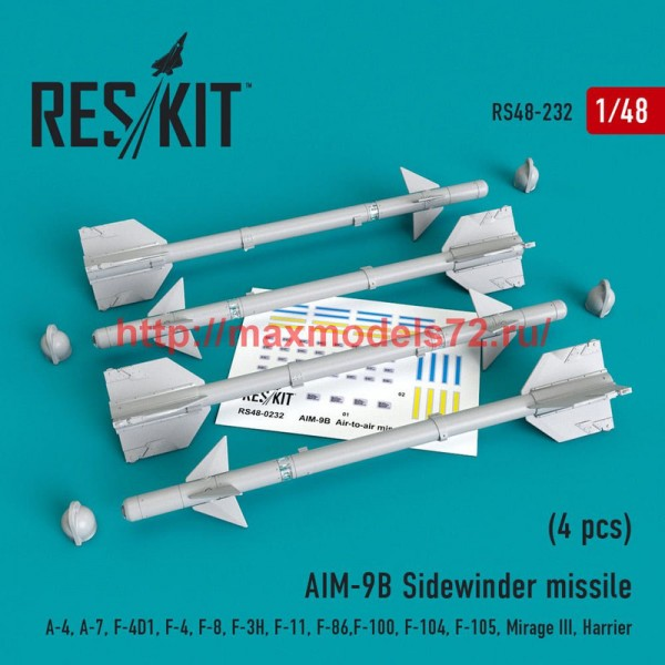RS48-0232   AIM-9B Sidewinder  missile (4 pcs) A-4, A-7, F-4D1, F-4, F-8, F-3H,  F-11, F-86,F-100,  F-104, F-105,  Mirage III, Harrier (thumb50210)
