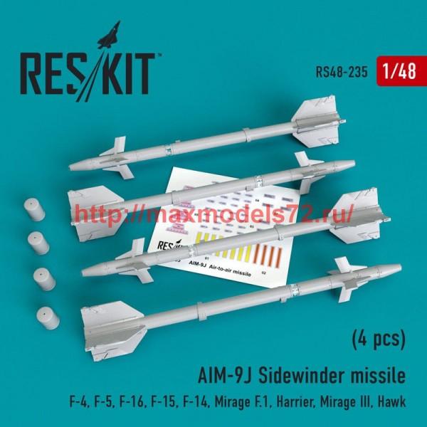 RS48-0235   AIM-9J Sidewinder  missile (4 pcs) F-4, F-5, F-16, F-15, F-14, Mirage F.1, Harrier, Mirage III, Hawk (thumb50216)