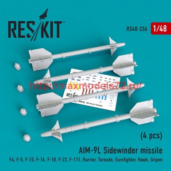 RS48-0236   AIM-9L Sidewinder  missile (4 pcs) F4, F-5, F-15, F-16, F-18, F-22, F-111, Harrier, Tornado, Eurofighter, Hawk, Gripen (thumb50218)