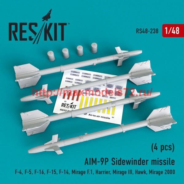 RS48-0238   AIM-9P Sidewinder  missile (4 pcs) F-4, F-5, F-16, F-15, F-14, Mirage F.1, Harrier, Mirage III, Hawk, Mirage 2000 (thumb50222)