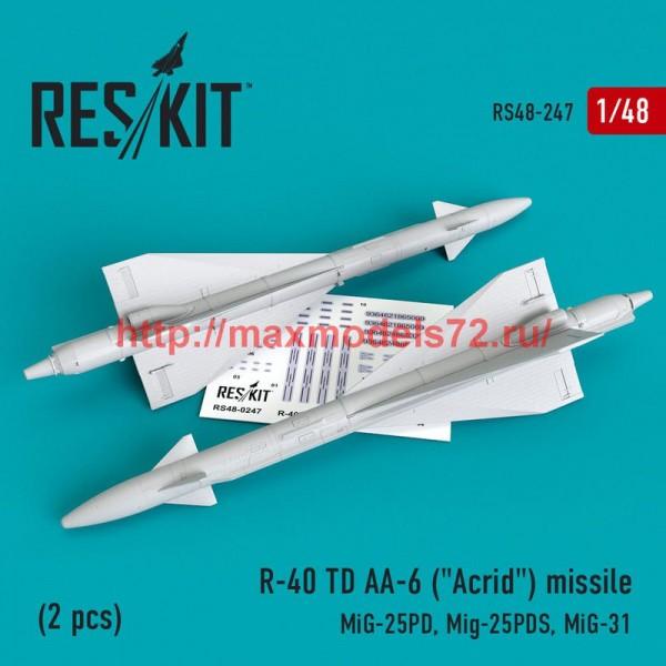 """RS48-0247   R-40 TD AA-6 (""""Acrid"""") missile (2 pcs) MiG-25PD, Mig-25PDS, MiG-31 (thumb50226)"""