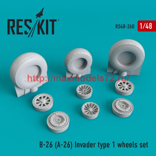 RS48-0260   B-26 (A-26)  Invader   type 1 wheels set (thumb50246)