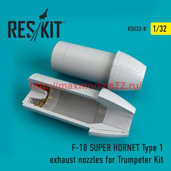 RSU32-0008   F-18 (E/G) SUPER HORNET Type 1 exhaust nozzles for Trumpeter Kit (thumb51915)