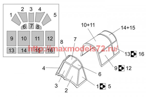 BRL72253   Henschel Hs-126 Canopy mask (Brengun kit) (thumb54581)