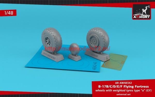 """AR AW48342   1/48 B-17B/C/D/E/F Flying Fortress wheels w/ weighted tyres type """"a"""" (GY) & PE hubcaps (thumb55694)"""