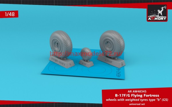 """AR AW48345   1/48 B-17F/G Flying Fortress wheels w/ weighted tyres type """"b"""" (GS) (thumb55700)"""