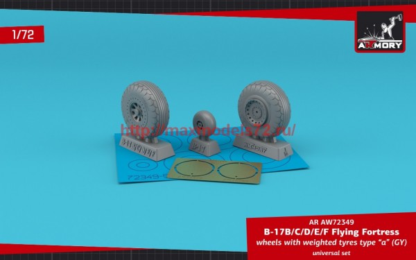 """AR AW72349   1/72 B-17B/C/D/E/F Flying Fortress wheels w/ weighted tyres type """"a"""" (GY) & PE hubcaps (thumb55704)"""