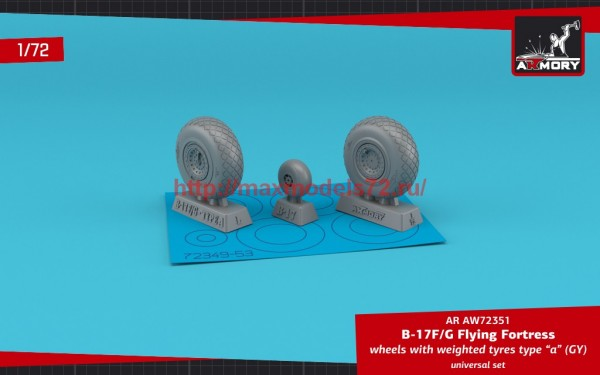 """AR AW72351   1/72 B-17F/G Flying Fortress wheels w/ weighted tyres type """"a"""" (GY) (thumb55708)"""